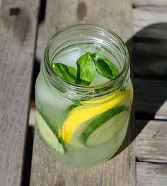 Cucumber Lemonade Vodka with Basil - had this today and it was sooo refreshing and tasty!