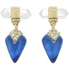 Alexis Bittar Mini Rock Crystal Post Drop Earrings (Iridescent Cobalt... ($125) ❤ liked on Polyvore featuring jewelry, earrings, blue, iridescent jewelry, alexis bittar jewelry, clear earrings, cobalt jewelry and post earrings