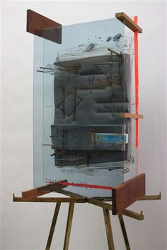 """Dave Hardy,"""" Venus Paradise,"""" 2012, glass, polyurethane foam, cement, wood, tape, pencils, watercolor set, display stand, 91"""" x 33"""" x 20"""""""