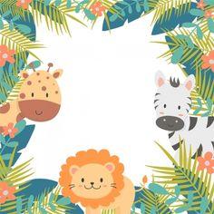 Cute Animals In The Jungle Background - Cute Animals In The Jungle Background - Kids Background, Cartoon Background, Background Images, Jungle Theme Birthday, Animal Birthday, Safari Party, Safari Theme, Shiba Inu, Banner Design