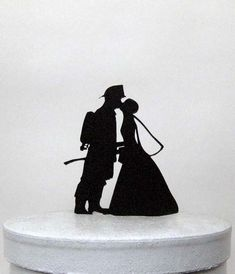 Wedding Cake Topper - Fireman and Bride Silhouette Wedding Cake Topper