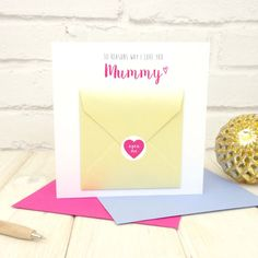 Mum Birthday Card - Things I Love About You Mum - Mothers Day Card - Blank Inside Card - Birthday Card - Personalised Card - Grandma Card - Etsy - LetsDreambyChiChiMoi Birthday Cards For Mum, Mum Birthday, Love You Mum, My Love, Grandma Cards, Pink Paper, Blank Cards, Your Cards, Mother Day Gifts