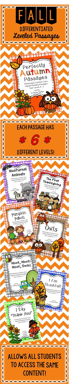 Fall Passages!! Allows ALL students to access the SAME content. Great for differentiation. Perfect for small groups or whole group.