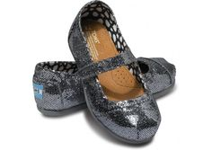 Pewter Glitter Tiny TOMS Mary Janes (Toddler Sizes 2-11) available at Red E Surf