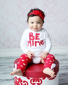Baby Girl Valentine's Day bodysuit, Be Mine Shirt with matching Heart Leg warmers and Valentine Shabby flower headband, For Valentines Day