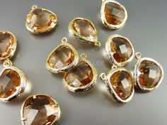 5058GCH BULK 6 pcs Champagne / Gold Faceted teardrop by EverLuxe, $16.92