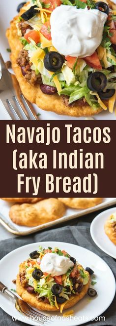 Navajo Tacos (Indian Fry Bread) Deliciously crispy on the outside, soft and chewy on the inside, Navajo Tacos made with Indian Fry Bread are topped with a meaty mixture of taco seasoned ground beef and beans, then all the fixings like sour cream, shredded Navajo Tacos, Pasta Recipes, Beef Recipes, Cooking Recipes, Toco Recipes, Cooking Ham, Lobster Recipes, Recipes Dinner, Healthy Recipes