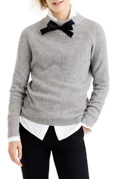Free shipping and returns on J.Crew Gayle Tie Neck Sweater at Nordstrom.com. Inspired by a vintage sweater rediscovered at the back of J.Crew's head stylist's closet, this boy-meets-girls style is both polished and cozy. The standout detail: a grosgrain ribbon bow at the neck.