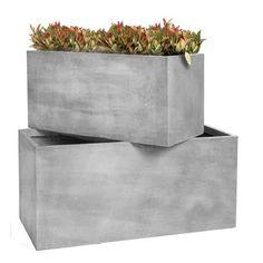 Jardinière rectangulaire en fibre de terre 80x40xH.40cm - Maison Facile : www.maison-facile.com