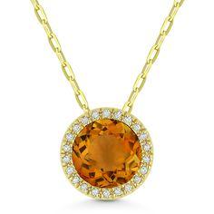 1.22ct Round Cut Citrine & Diamond Circle Halo Pendant & Chain Necklace in 14k Yellow Gold - AlfredAndVincent.com