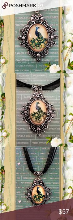 """Lovely Peacock Cameo Peacock Cabachon Cameo backed with Metal Alloy on a 17"""" organza necklace with a 2"""" extension chain. .... I Love Peacocks!  this gives an old world feel. just lovely ... Cameo Jewelry Necklaces"""