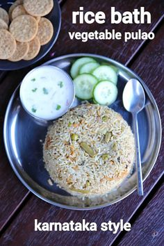 rice bath recipe, karnataka style vegetable rice bath, rice bhath with step by step photo/video. unique way of making flavoured & tasty rice pulao recipe. Bath Recipes, Rice Recipes, Vegetarian Recipes, Pizza Recipes, Snacks Recipes, Chilli Recipes, Savory Snacks, Yummy Recipes, Recipies