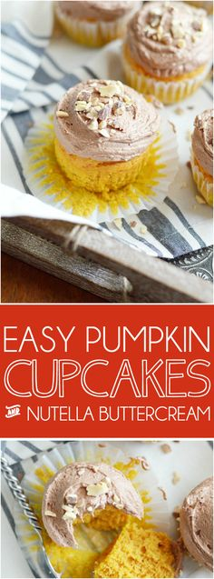 Soft and moist, spiced pumpkin cupcakes perfectly paired with whipped Nutella…