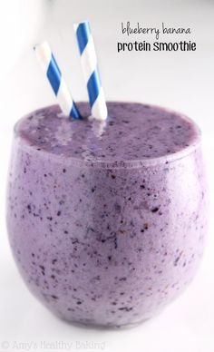 Blueberry Banana Protein Smoothie -- start your day with of protein in thi. Blueberry Banana Protein Smoothie — start your day with of protein in this sweet – Protein Smoothies, Smoothies Banane, Smoothie Fruit, Apple Smoothies, Easy Smoothies, Breakfast Smoothies, Smoothie Drinks, Breakfast Healthy, Healthy Morning Smoothies
