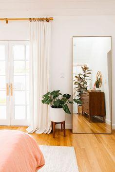Our Blush Master Bedroom Reveal blush master bedroom // whit. Our Blush Master Bedroom Reveal blush master bedroom // white curtains // hardwood floors // feminine bedroom Teal Master Bedroom, Feminine Bedroom, Big Mirror In Bedroom, Master Bedrooms, Bedroom Modern, Feminine Apartment, Stylish Bedroom, Bedroom Black, Minimalist Bedroom
