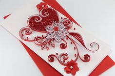 Quilled Valentine's Day Card for Her, Girlfriend, Darling - Paper Handmade I Love You Card - Quilled Heart Flower Design