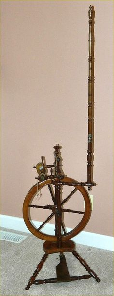 "Antique Flax Spinning Wheel + 63"" Distaff Turned Walnut Acorn Finials Superb #Primitive #Unknown"