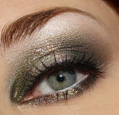 great golden green eye make up