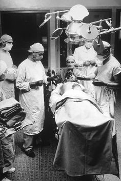 Patient receiving cancer surgery in 1949 at Cancer Institute. 	 	National Museum Of American History.