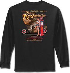 Hot Rod T Shirt Pinup Girl Rat Rod Mens Long Sleeve Shirts Small to 4XL Big Tall #PitStopShirtShop #GraphicTee