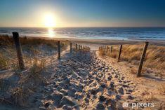 sunshine over path to beach in North sea, Zandvoort, North Holland, Netherlands Stock Photo , Sunset Canvas, Beach Canvas, Ocean Pictures, Sea Art, Sea Waves, North Sea, Beach Photos, Great Photos, Wall Murals