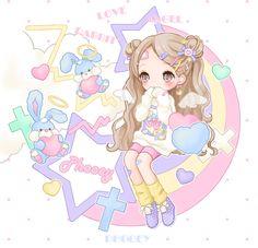 ✮ ANIME ART ✮ pastel. . .fairy kei fashion. . .sweater. . .legwarmers. . .long hair. . .hair buns. . .hair clips. . .angel wings. . .toy rabbits. . .halo. . .rainbow. . .stars. . .cute. . .kawaii