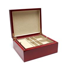 Red Wood Jewelry Box with Removable Tray