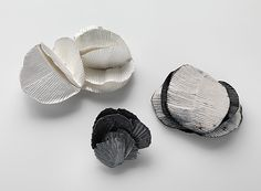 Julie Blyfield Brooch: Shell Like, Folded Heart-Leaf, Spiral, 2013 Oxidised sterling silver, enamel paint © By the author. Read Klimt02.net Copyright.