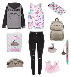 """""""Pusheen"""" by aesthetically-cynical ❤ liked on Polyvore featuring Pusheen, Dr. Martens and River Island"""
