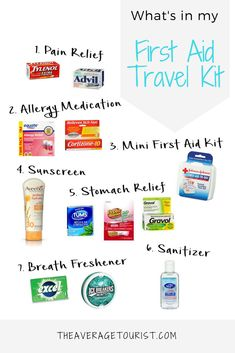 Packing list for a first aid travel kit
