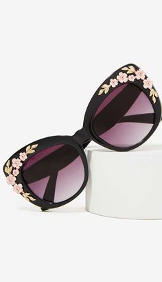 cat eye shades with floral details