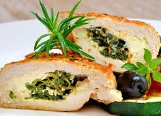 Chicken stuffed   W/ Spinach, basil, sundried  tomatoes and cheese.  Yum!