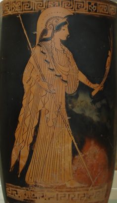 "lionofchaeronea: ""Athena, holding a spear. Attic red-figure lekythos, attributed to the Brygos Painter; ca. 480-470 BCE. Now in the Metropolitan Museum of Art. Photo credit: Onedeadpresident/Wikimedia Commons. """