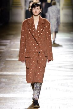 Dries Van Noten oversized camel coat with embroidery worn over tapestry trousers