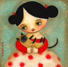 SIAMESE cat folk art PRINT cute nursery room wall decor of girl and cat print of an original painting by tascha 6x6