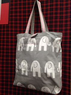 #babytote #babyelephant #cute #babybag   Elephant canvas tote: fabric from Mill End Store   www.millendstore.com