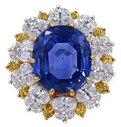 Oscar Heyman Sapphire, Diamond, Gold and Platinum Ring