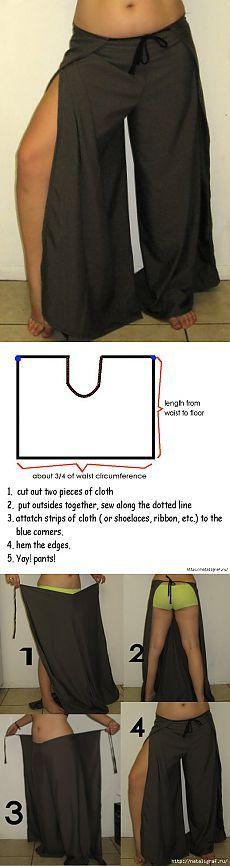 Стильные брюки с запахом - простая выкройка.