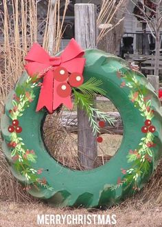 Wreath from tractor tire