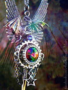 Mystic Celestial Dragon Key Pendant / OOAK by ArtbyStarlaMoore