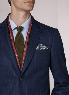 Costume flanelle de laine et cachemire bleu indigo - rayures craie  17HC3KATE-KC08 33 - Costume Homme e6b6bff86fe