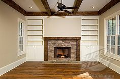 Shelves With Fireplace Empty Living Room With Brick Fireplace