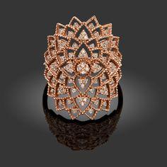"V5 Rose Gold Diamond Ring ""Katherine"" model 08. White Gold Jewelry, White Gold Rings, Rose Gold Diamond Ring, Gold Jewellery Design, Ring Earrings, Jewelery, Fine Jewelry, Arabesque, Confident"