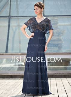 Mother of the Bride Dresses - $186.99 - A-Line/Princess V-neck Floor-Length Chiffon Tulle Mother of the Bride Dress With Beading (008018938) http://jjshouse.com/A-Line-Princess-V-Neck-Floor-Length-Chiffon-Tulle-Mother-Of-The-Bride-Dress-With-Beading-008018938-g18938