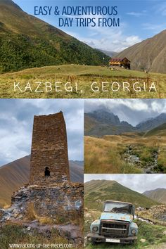There are many spectacular and adventurous day trips from Kazbegi, Georgia. This region, which lies in the heart of the impressive and diverse Caucasus Mountains, is any thrill-seekers delight.   With excellent shuttle options, shared taxis, and hitchhiking, these day trips are possible to visit independently! The Truso Valley and the village of Juta were two of my favorite day trips from Kazbegi.