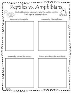 Kindergarten writing - composing opinion reptiles vs. amphibians