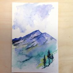 alpine fields and mountain range watercolor