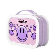 Purple/Pink Smiley Personalized Lunch Box