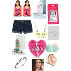 Best friends by raylynn12 on Polyvore featuring polyvore, fashion, style, Aéropostale, Sydney Evan, Forever 21, Eos, Neiman Marcus, BFF, bestfriend and Bestie