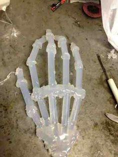 Hot glue gun  Glue sticks  Skeleton hand